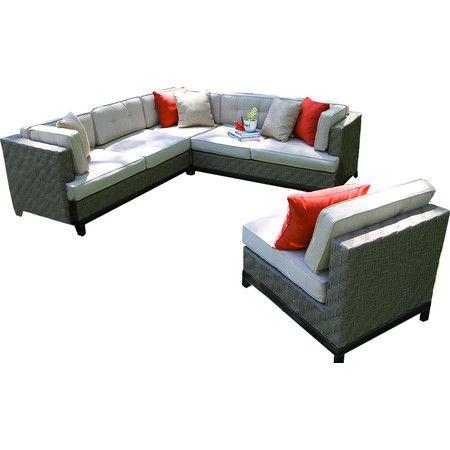 4-Piece Camilla Patio Seating Group in Gray | Sunbrella cushions .