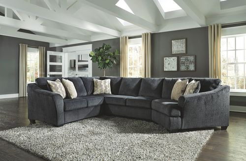 The Eltmann Slate LAF Sofa with Corner Wedge, Armless Loveseat .