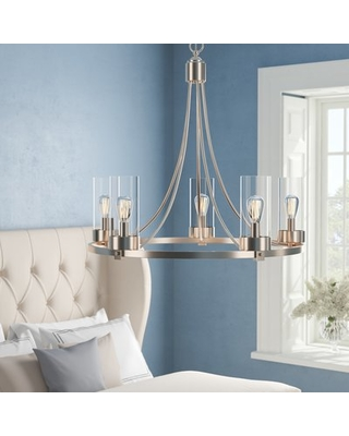 Discover Deals on Janette 5-Light Shaded Wagon Wheel Chandelier .