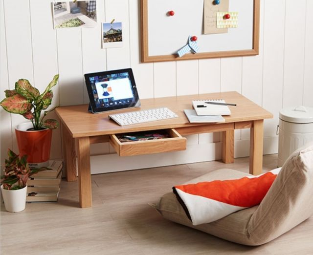 Ash Floor Table x1 w/drawer, Low Japanese Style Laptop PC Desk .