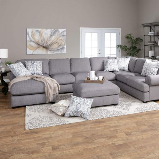 3 Piece Grey Overstuffed Sectional Sofa - RAF w/ LAF Chaise | Jerome