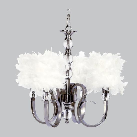 Hampton Four-Light Chandelier with White Feather Drum Shades .