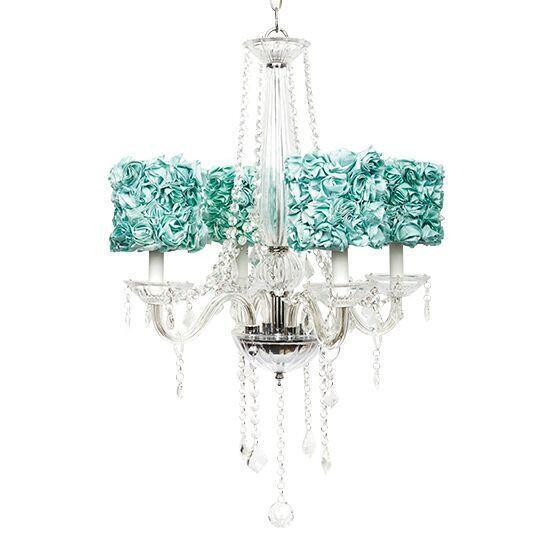 4 Light Glass Middleton Chandelier with Turquoise Rose Garden .