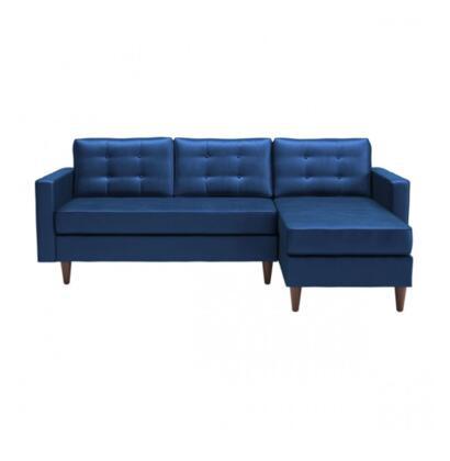 Zuo Puget Velvet Sectional Sofa 101334 Dark Blue Velvet .