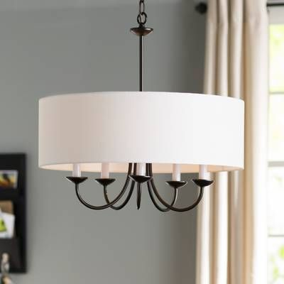 Joon 6 - Light Candle Style Globe Chandelier   Drum shade .