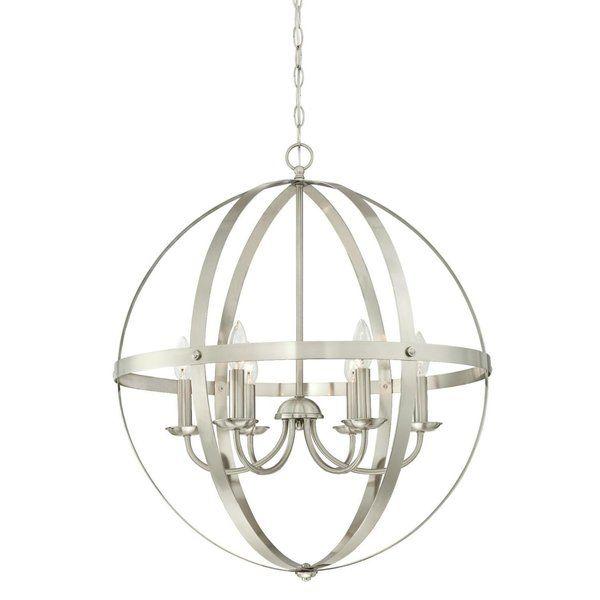 Joon 6 - Light Candle Style Globe Chandelier   Brushed nickel .