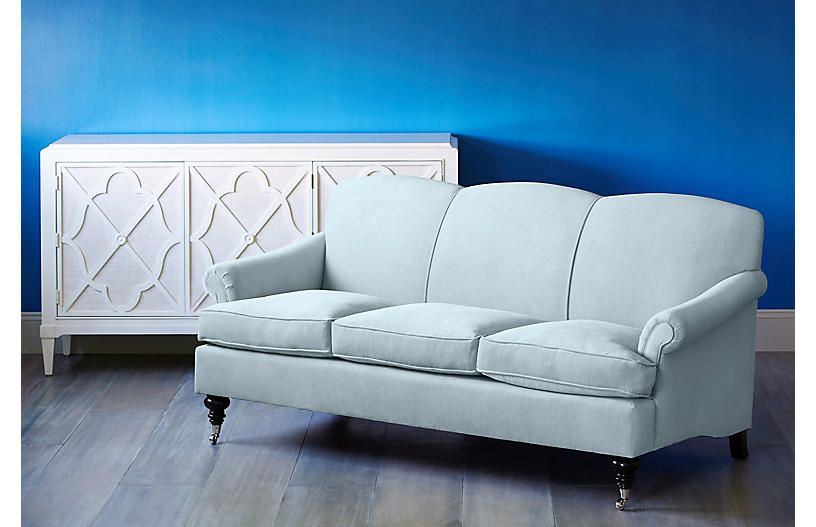 Joplin Sofa, Sky Blue Velvet | Blue velvet, Blue velvet sofa, So