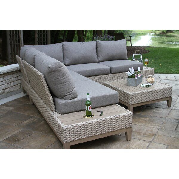 Huntleigh Eucalyptus and Wicker 4 Piece Sectional Seating Group .