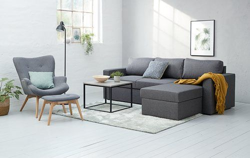 End table DOKKEDAL 60x60 concrete/black | JYSK | Sectional couch .