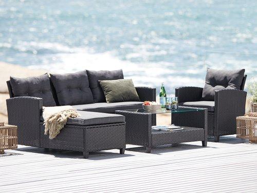 Loungesett MORA 4 seter sjeselong svart | JYSK | Utendørsmøbler .