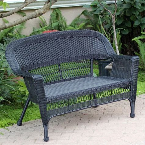 Karan Wicker Patio Loveseat | Patio loveseat, Love seat, Outdoor so