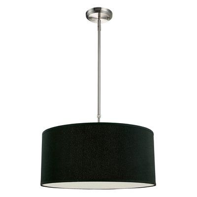 "Mack & Milo Kasey 3-Light Drum Pendant Size: 10"" H x 24"" W, Finish ."