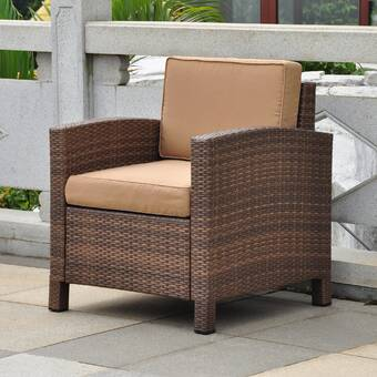 Brayden Studio Katzer Patio Chair with Cushion & Reviews | Wayfa