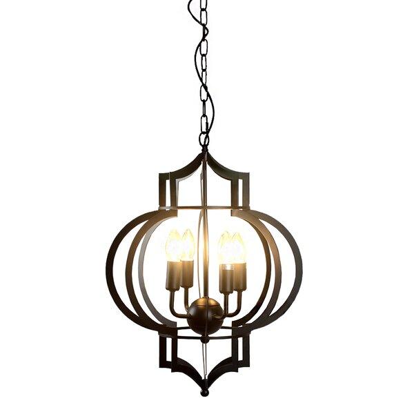 Fleur De Lis Living Hulda 4 - Light Lantern Geometric Chandelier .