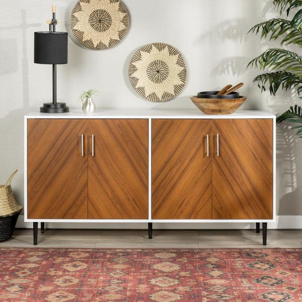 Walker Edison Furniture Company 58 in. White/Teak Modern Bookmatch .