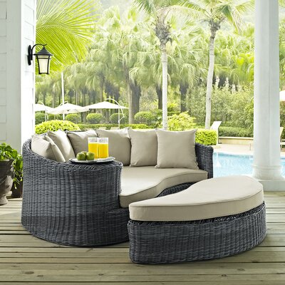 Brayden Studio® Keiran Patio Daybed with Cushions Brayden Studio .