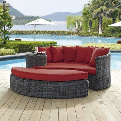 Brayden Studio Keiran Patio Daybed with Cushions Color: Gray/Red .