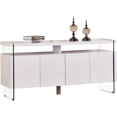 Orren Ellis Kieth 4 Door Credenza Color: White | Furniture .