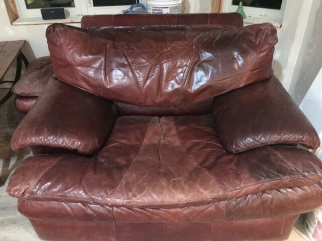 leather couch & chair with ottoman | Couches & Futons | London .