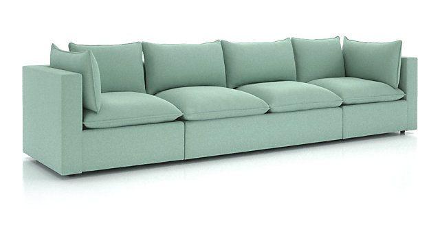 Lotus Petite Modular 3-Piece Extra Long Low Sofa Sectional + .