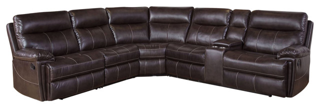 Kingston 6-Piece Reclining Sectional, Brown - Contemporary .