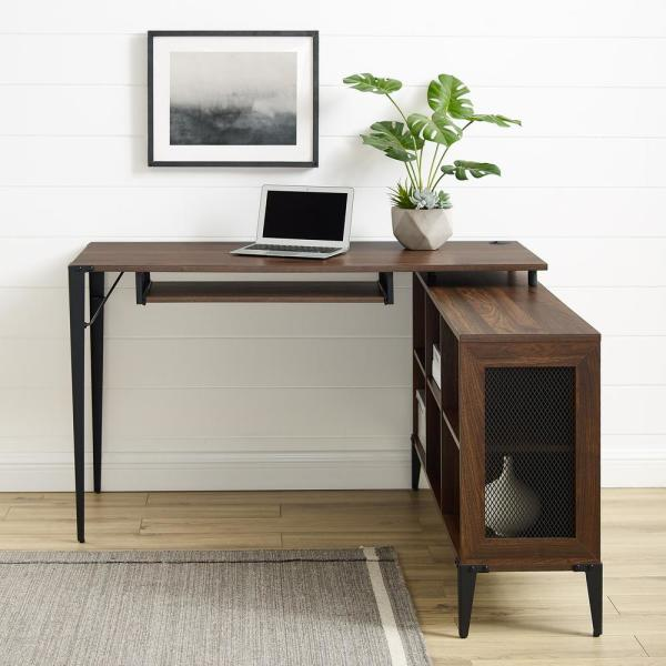 Welwick Designs 52 in. L-Shaped Dark Walnut Computer Desks with .