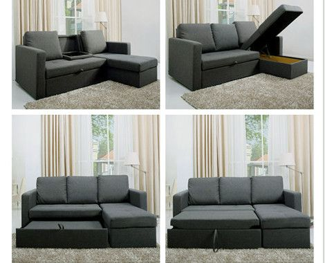 L-Shaped Sofa Bed | L shaped sofa bed, Living room sofa design .