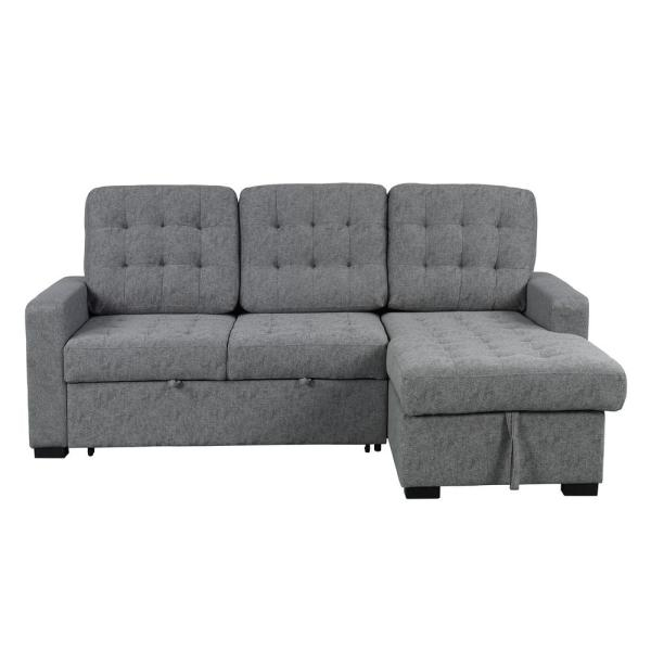 Boyel Living Steel Gray L-Shape Convertible Modern Upholstery Soft .