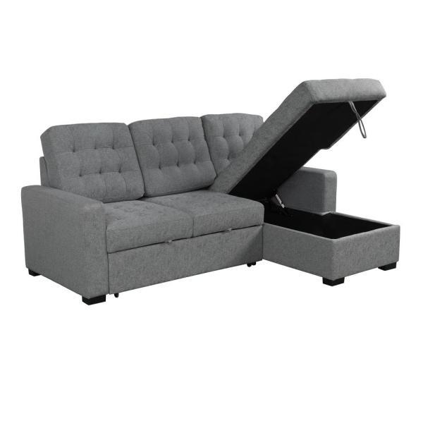 Boyel Living Steel Gray L-Shape Convertible Modern Upholstery Soft .