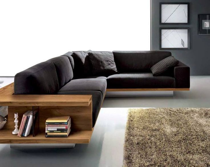 Living Rooms:Minimalist Living Room With L Shaped Black Sofa Feat .