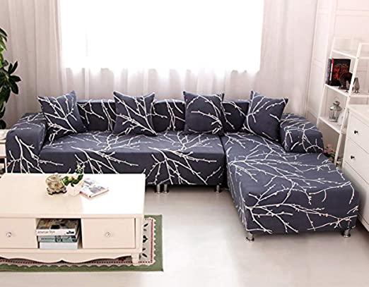 Amazon.com: WOMACO L Shape Sofa Covers Sectional Sofa Cover 2 pcs .