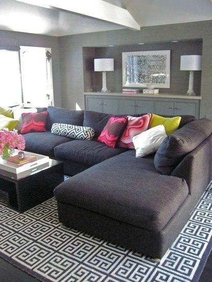 Charcoal l shaped sofa | Grey sectional sofa, Home living room, Ho