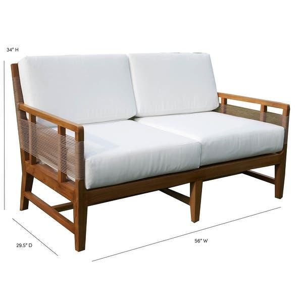 "Shop Laguna Teak 56"" Outdoor Sofa with Cushions - Overstock - 313153"