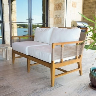 "Shop Laguna Teak 56"" Outdoor Sofa with Cushions - Overstock - 314240"