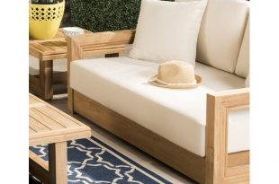 Rosecliff Heights Lakeland Teak Patio Sofa with Cushions & Reviews .