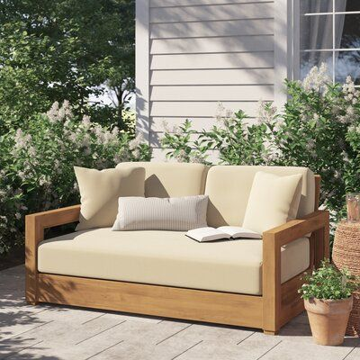 Rosecliff Heights Lakeland Teak Loveseat with Cushions | Patio .