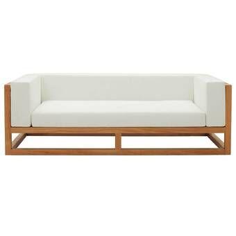 Lakeland Teak Patio Sofa with Cushions & Reviews | AllMode