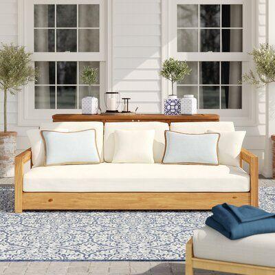 Rosecliff Heights Lakeland Teak Patio Sofa with Cushions | Patio .