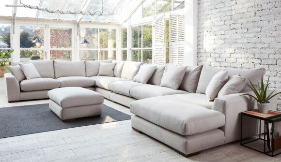 Kingston Large U Shaped Sofa in Romo Linara Chinchilla | Corner .