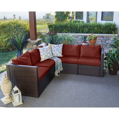 Mercury Row Larsen Patio Sectional with Cushions Color: Dark Brown .