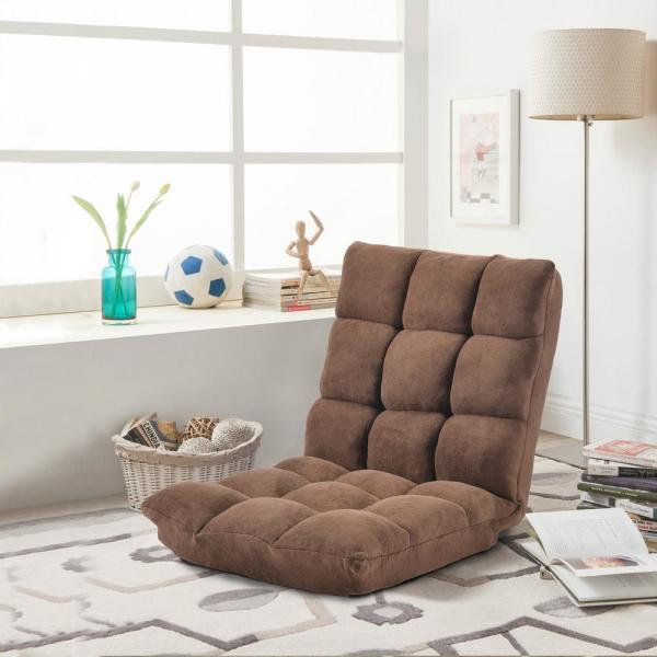 Boyel Living Espresso Velvet Floor Gaming Chair Upholstered .