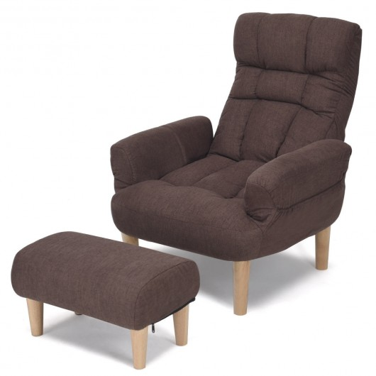Lazy Sofa Chair with Footstool Living Room Armchair Adjustable .