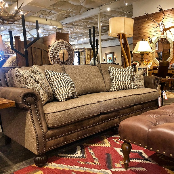 1/2 price Fabric and Leather Sofa at Anteks Furniture Store in Dall