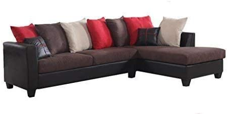 Amazon.com: REALONE Fabric and Faux Leather Sectional Sofa and .