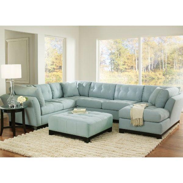 Unique Blue Sectional Sofa #4 Light Blue Suede Sectional Sofa .