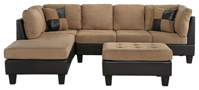 3-Piece Modern Microfiber Faux Leather Sectional Sofa With Chaise .