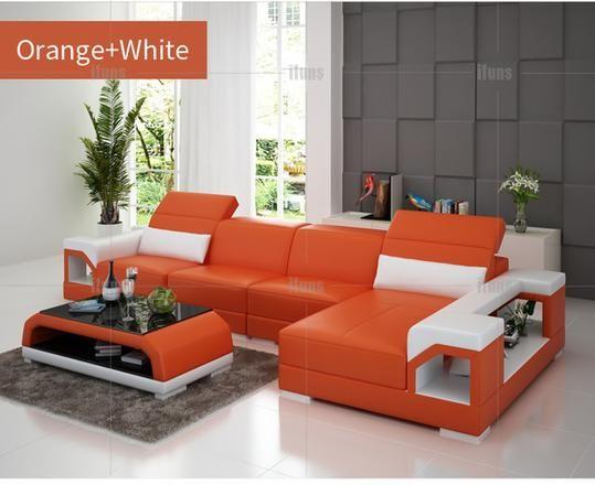 IFUNS brillancy orange genuine leather corner sofas modern design .