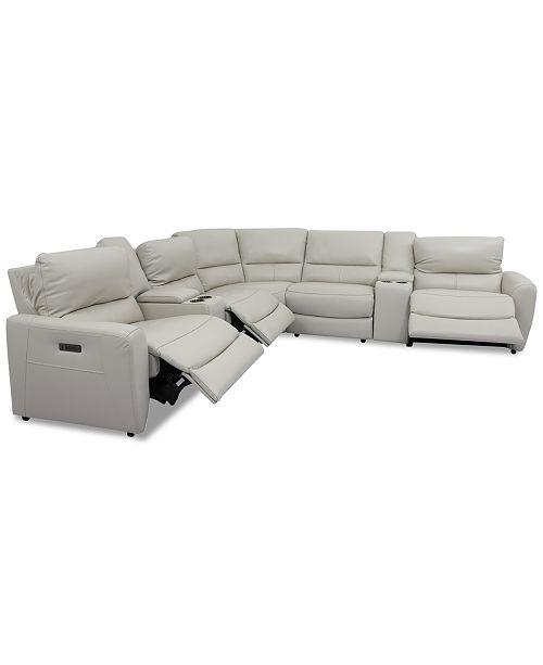 Furniture Danvors 7-Pc. Leather Sectional Sofa with 3 Power .