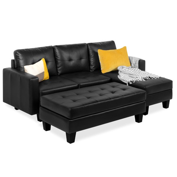 Best Choice Products 3-Seat L-Shape Tufted Faux Leather Sectional .