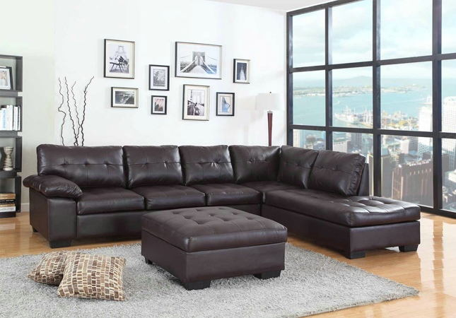 2082 2 pc emily ii espresso faux leather sectional sofa set with .